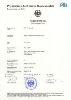 sglux Certificate of Calibration  PTB