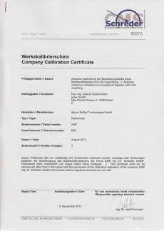 sglux Company Calibration Certificate Schreder