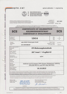 sglux Certificate of Calibration opto.cal