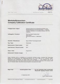 sglux Certificat Calibration Schreder