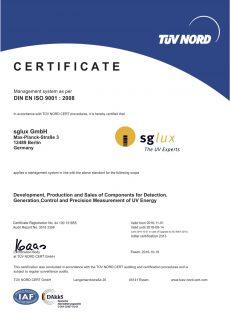 sglux Certificat DIN EN ISO9001