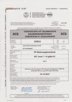sglux Certificat Calibration opto.cal