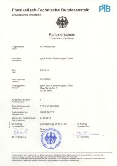 sglux Certificado Calibración PTB